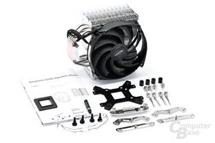 Lieferumfang mit Montagematerial für AMD und Intel