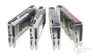 v.l.n.r.: GTX Titan, GTX 780, GTX 680, 7970 GHz Edition