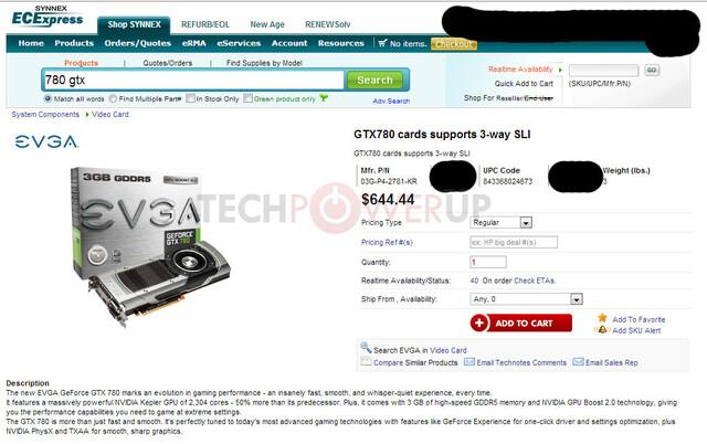 Angeblicher Preis der GeForce GTX 780 beim Großhändler Synnex