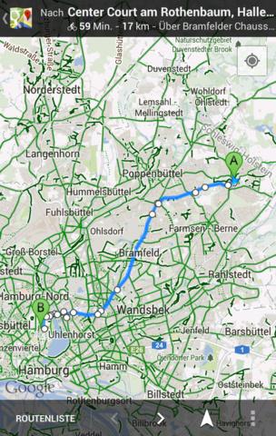 Fahrradtouren mit der mobilen Version von Google Maps