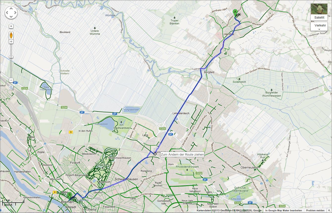Fahrradtouren mit der Browser-Version von Google Maps