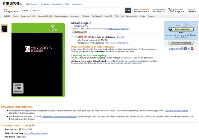 Screenshot der Amazon-Listung
