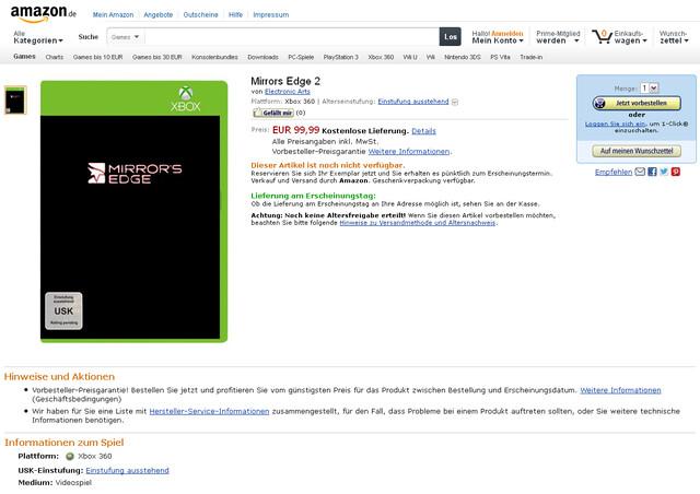 Screenshot der Amazon-Listung