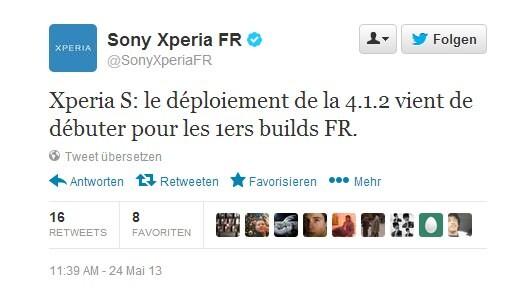 Twitter-Eintrag von Sony Mobile Frankreich