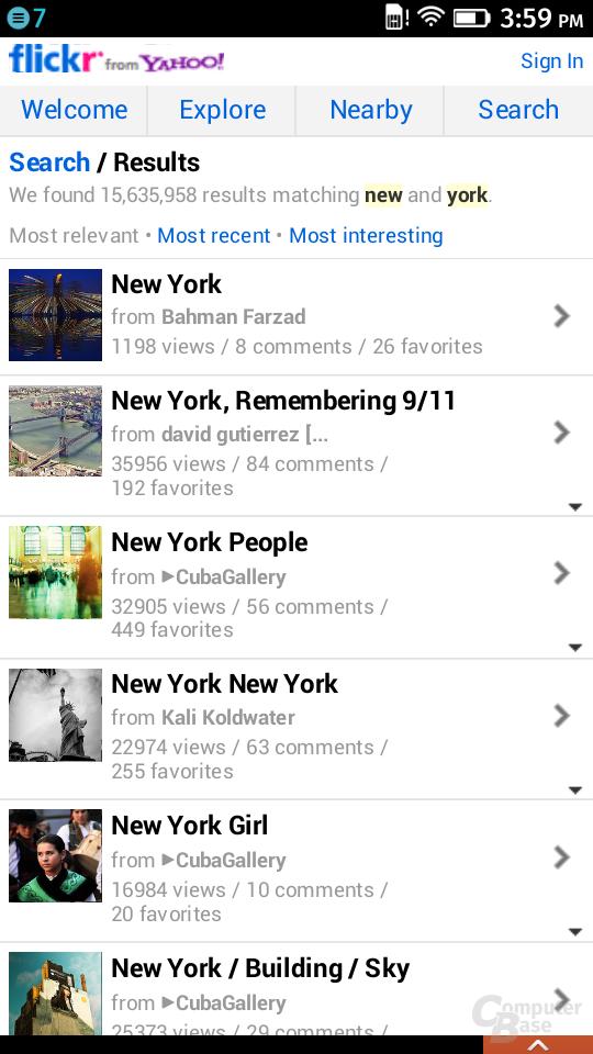Flickr als Suchergebnis