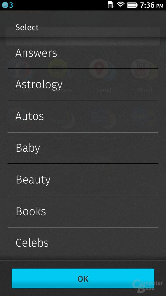 Themengebiete der Suche