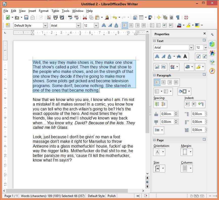 Eigenschaftendialog in Writer