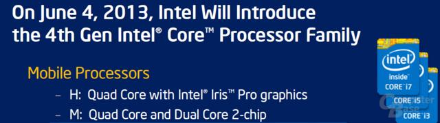 Intel-Beschreibung der Notebook-Modelle mit vier Kernen