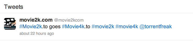 Twitter-Nachricht der Movie2k.to-Macher
