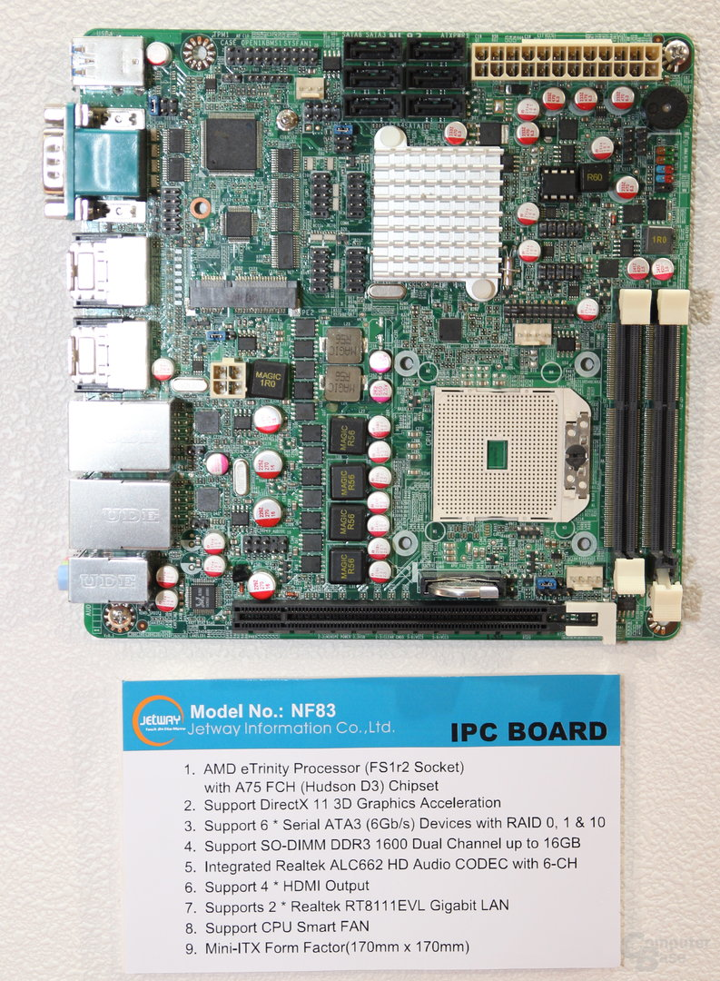 Jetway Mini-ITX-Board für AMD Trinity