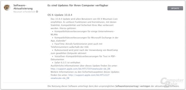 Update auf OS X 10.8.4