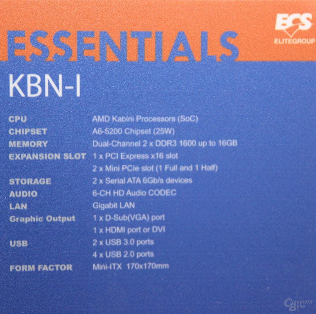 ECS Elitegroup KBN-I mit AMD A6-5200 (Kabini)