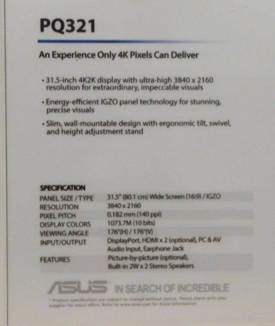 Asus PQ321 mit IGZO-Panel von Sharp