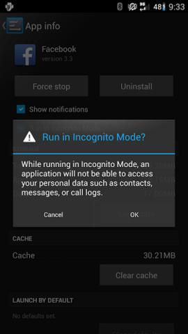 CyanogenMod Inkognito-Modus