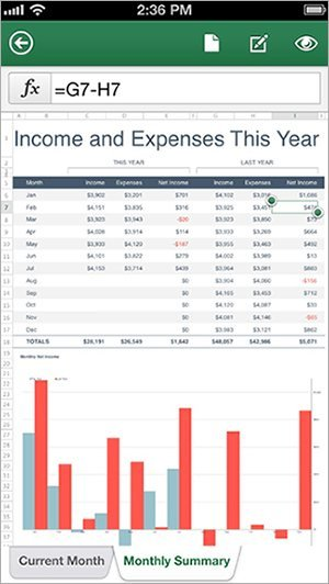 Office Mobile (iOS): Excel