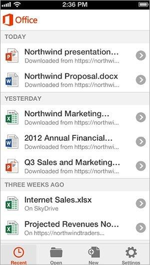 Office Mobile (iOS): Dokumentübersicht