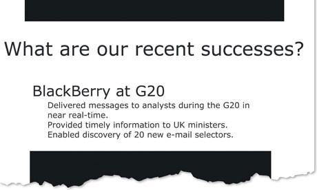 Ausschnitt aus den Papieren des GCHQ