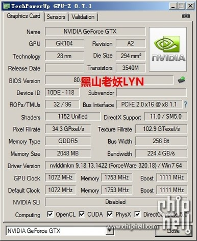Angeblicher GPU-Z-Screenshot der GeForce GTX 760