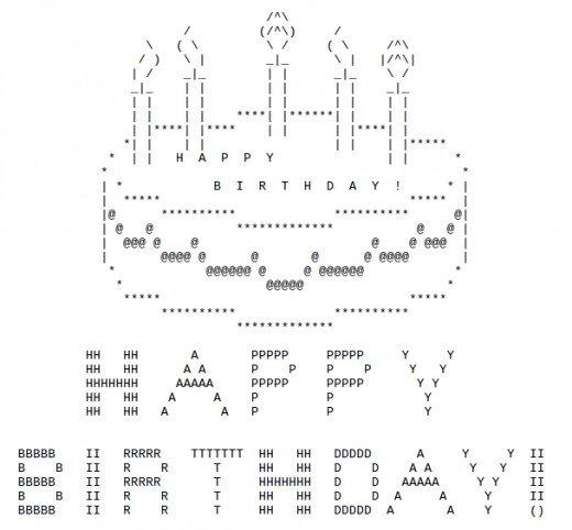 ASCII Geburtstagskuchen (Bild)