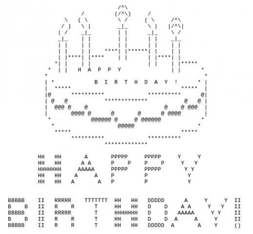 ASCII Geburtstagskuchen