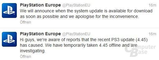 Sony-Reaktion über Twitter