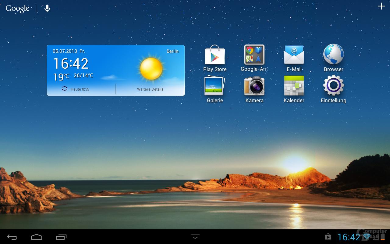 Huawei MediaPad 10 Link Homescreen