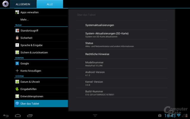 Huawei MediaPad 10 Link Systemeinstellungen