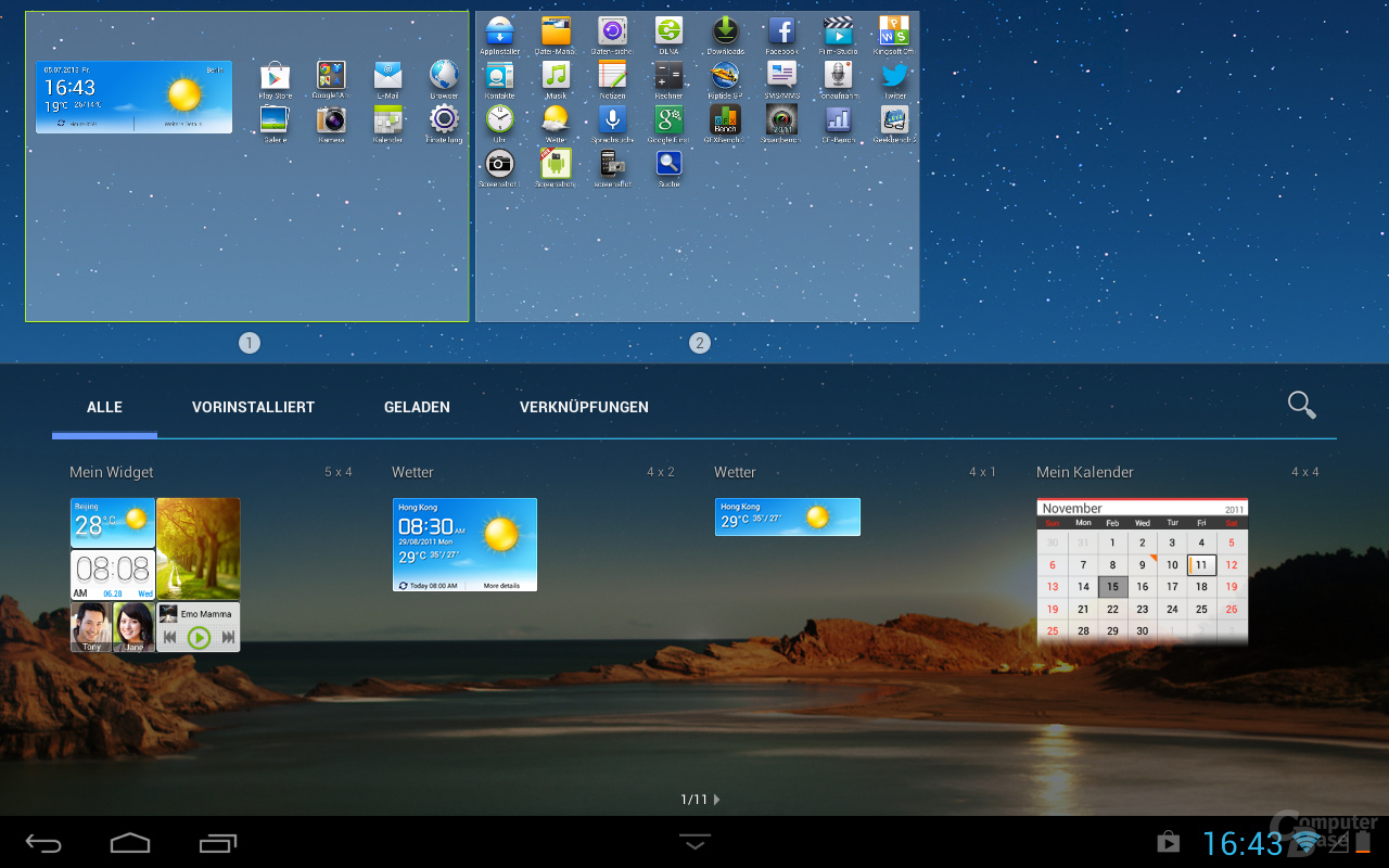 Huawei MediaPad 10 Link Widgets