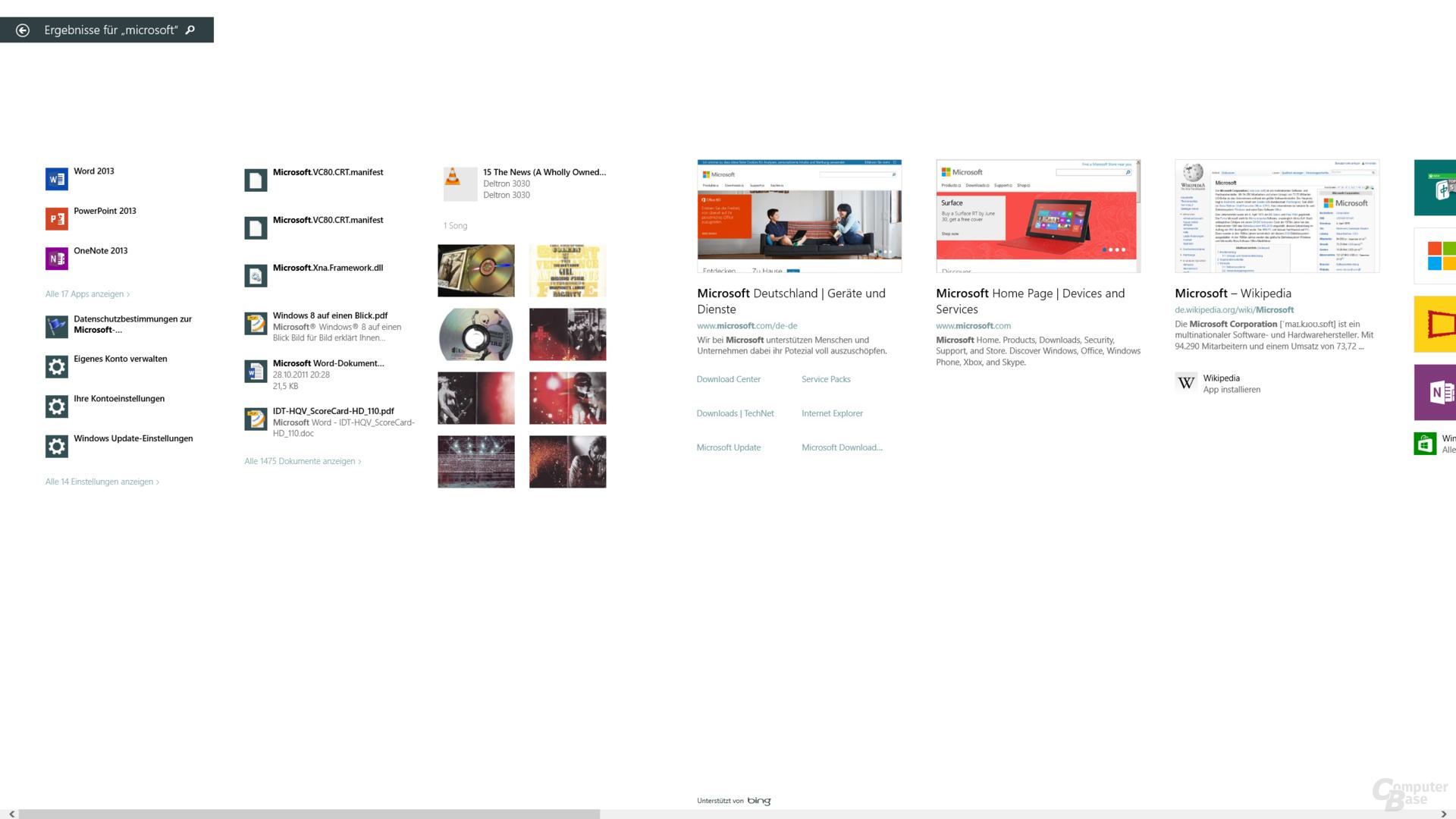 Normale Suchergebnisse mit Bing-Unterstützung