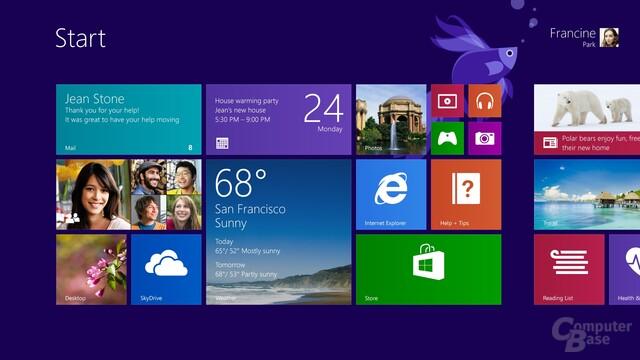 Windows 8.1 – Startscreen