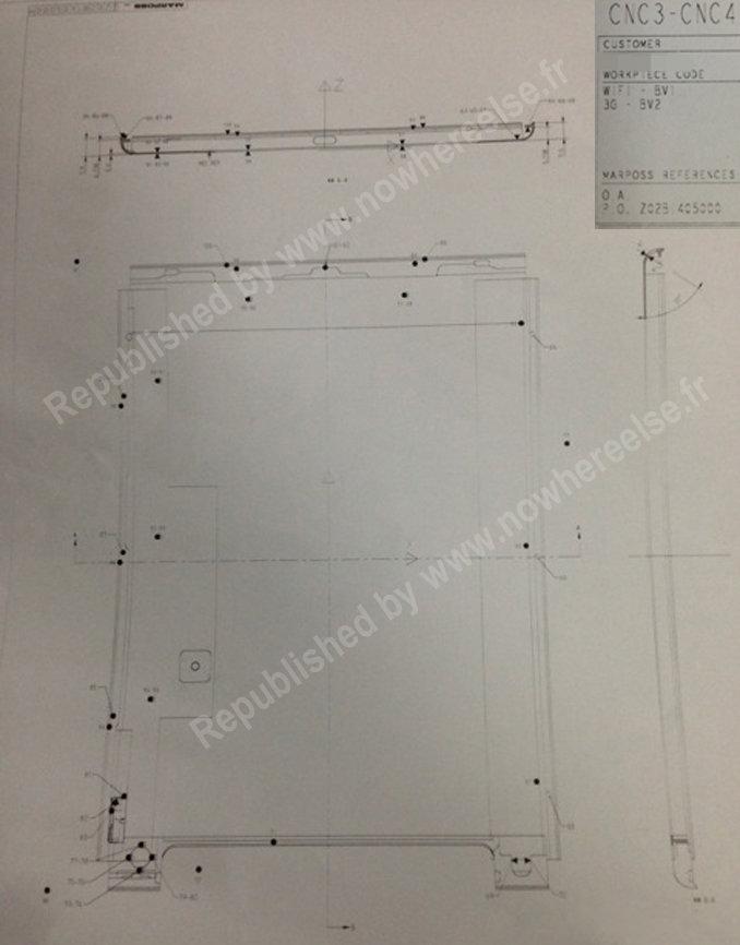Apple iPad 5 – technische Zeichnung