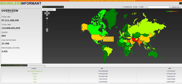 "Karte aus Data-Mining-Tool ""Boundless Informant"""
