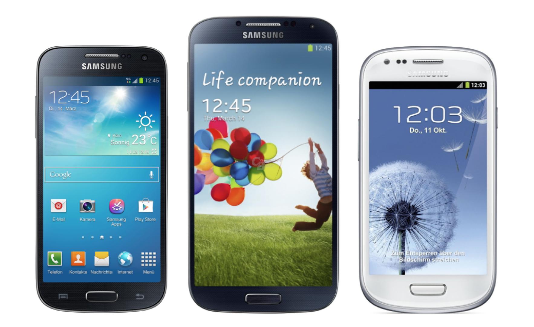 v.l.n.r.: Galaxy S4 mini, Galaxy S4, Galaxy S III mini