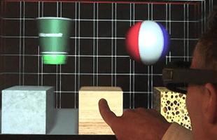 Objekte ertasten am 3D-Monitor