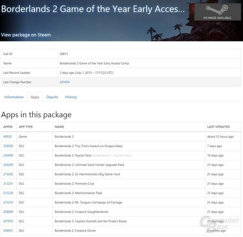 Screenshot der Steam-Datenbank