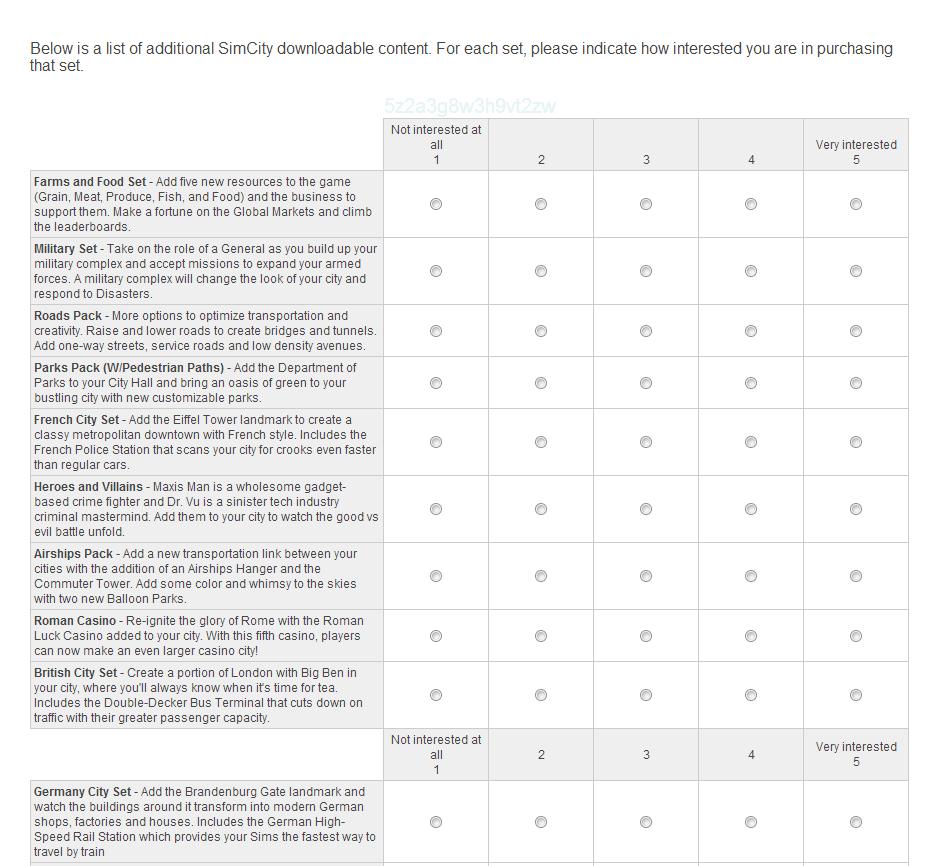 SimCity Kundenumfrage