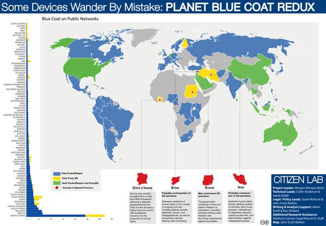 Globale Verbreitung von Blue-Coat-Überwachungstechnik