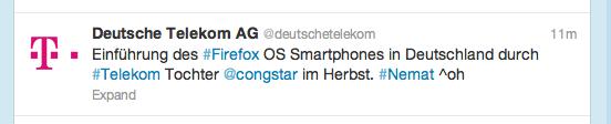 Twitter-Mitteilung der Deutschen Telekom