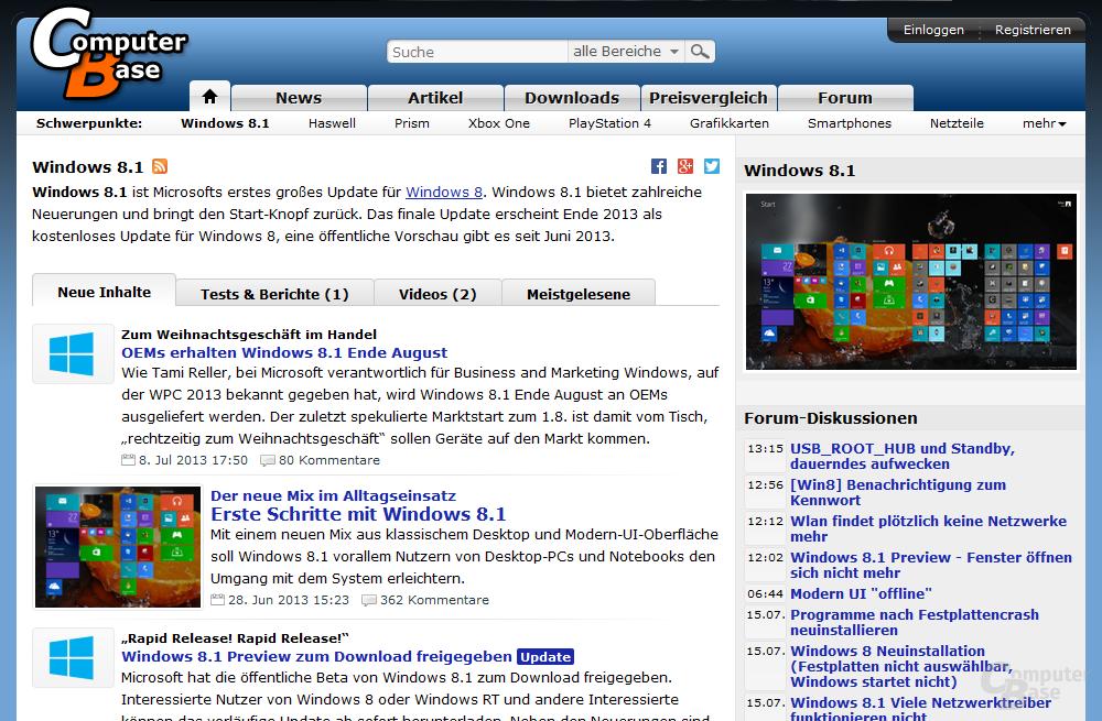 "Themenseite ""Windows 8.1"""