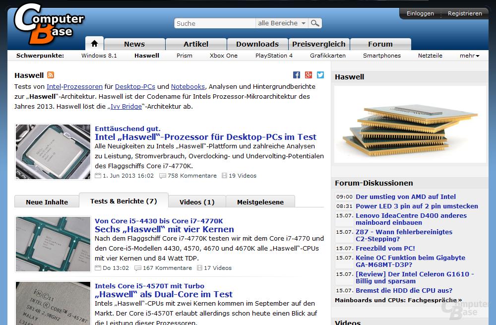 "Themenseite ""Haswell"" mit Tab ""Tests & Berichte"""