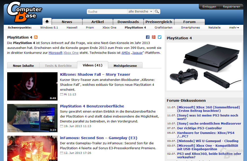 """Themenseite """"Playstation 4"""" mit Tab """"Videos"""""""