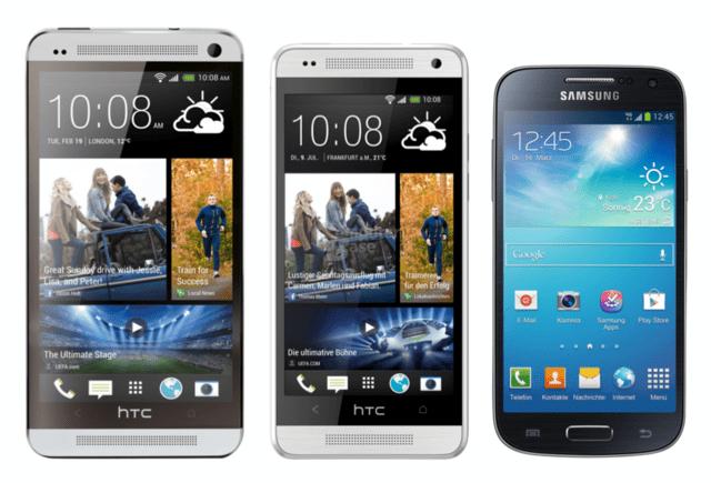 v.l.n.r.: HTC One, One mini, Samsung Galaxy S4 mini