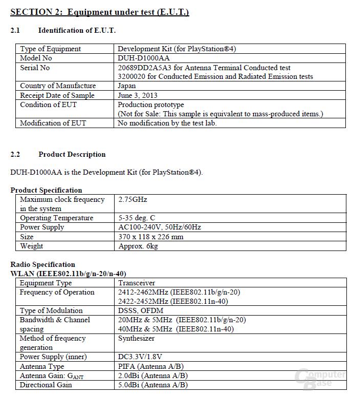 Spezifikationen der PlayStation 4 für den FCC-Test
