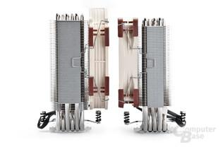 Beide Noctua-Kühler sind mit schmalem Radiator symmetrisch aufgebaut