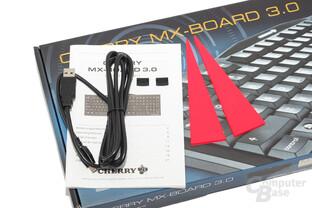Lieferumfang: Rutschsicherungen, Kurzanleitung, USB-Kabel