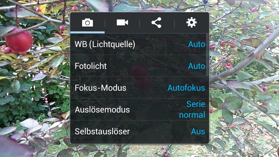 Kamera-Interface auf dem S4 zoom
