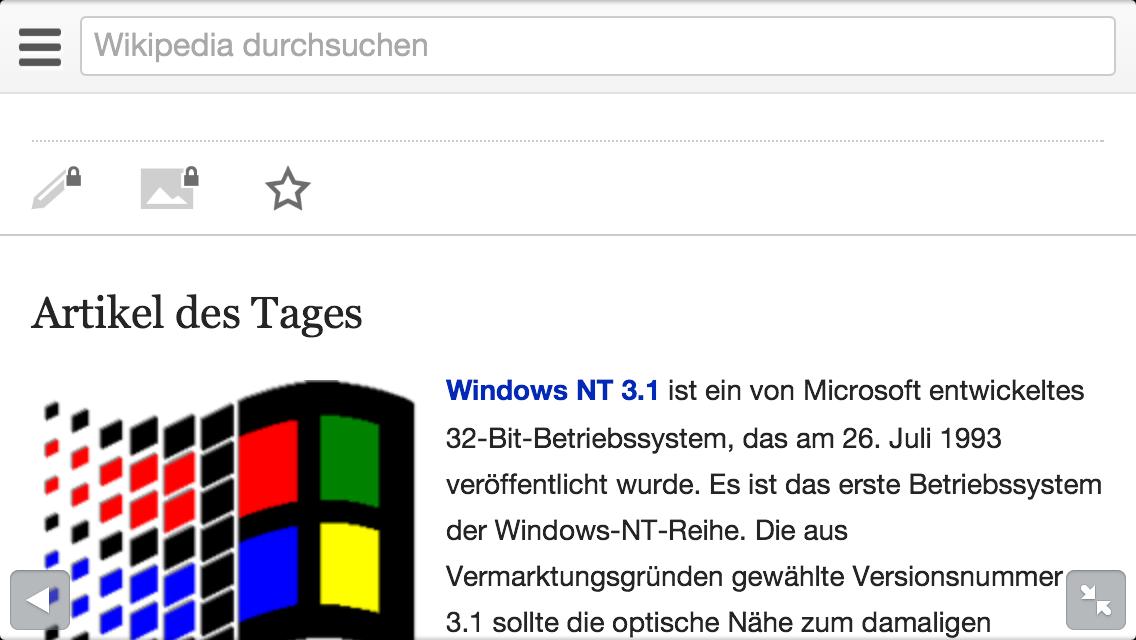Editierfunktionen auf der mobilen Wikipedia