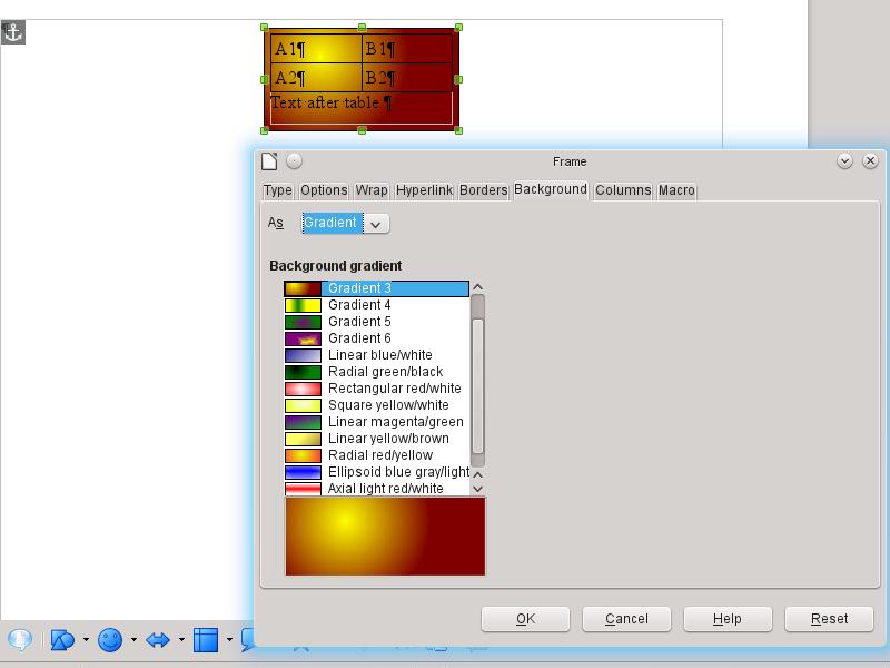 LibreOffice 4.1 Hintergrundverlauf