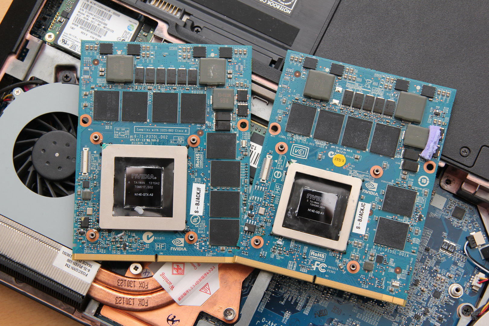 v.l.n.r.: GeForce GTX 780M und 770M auf MXM-Modul