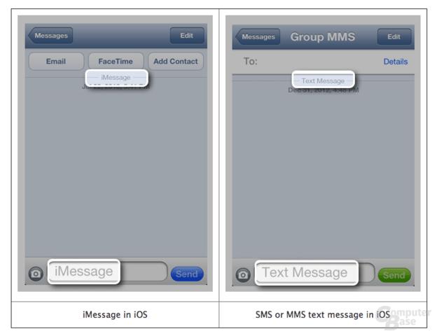 Links: iMessage-Nachricht, Rechts: SMS/MMS in iMessage